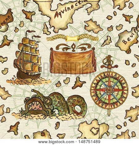 Seamless nautical background with pirate map of treasure island, sailing ship, wind rose and fantasy fish. Endless illustrations with vintage adventures and old transportation pattern