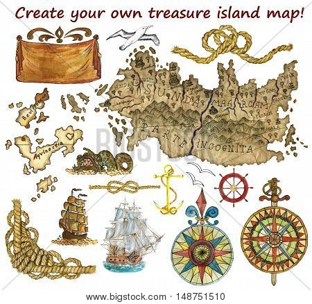Set for treasure island or pirate map isolated. Hand drawn graphic and watercolor illustrations. Fantasy land, wind rose and ships. Vintage adventures, treasures hunt and old transportation concept