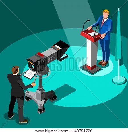 Speaker delegate tv communication. 3D Vector isometric people