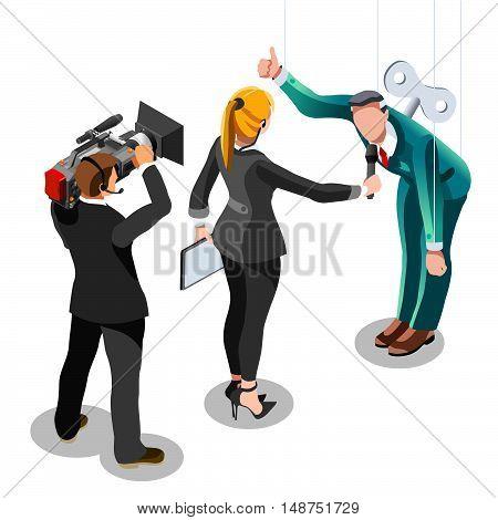 Puppet Speaker delegate journalism communication. 3D Vector isometric people