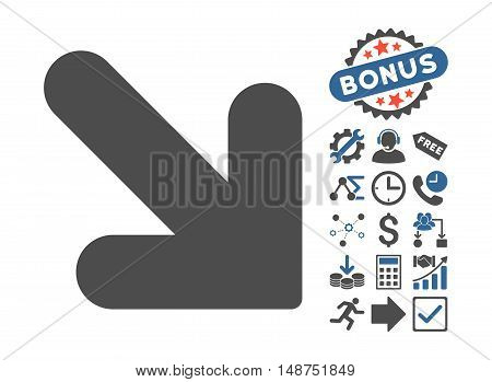 Arrow Down Right pictograph with bonus pictures. Glyph illustration style is flat iconic bicolor symbols, cobalt and gray colors, white background.