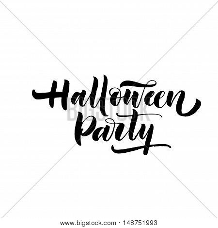 Halloween party card. Hand drawn holiday lettering. Ink illustration. Modern brush calligraphy. Isolated on white background.