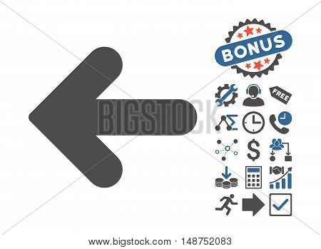 Arrow Left icon with bonus images. Glyph illustration style is flat iconic bicolor symbols, cobalt and gray colors, white background.