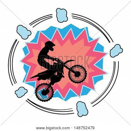Motocross abstract cartoon background or sign, vector illustration