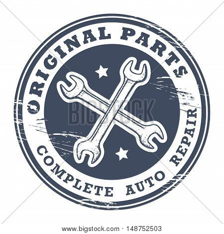 Car service garage grunge stamp, vector illustration