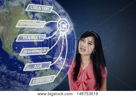 Property value concept with beautiful female entrepreneur touching property value icon and globe on the virtual screen