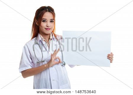 Asian Female Doctor Show Ok Sign With Blank Sign.