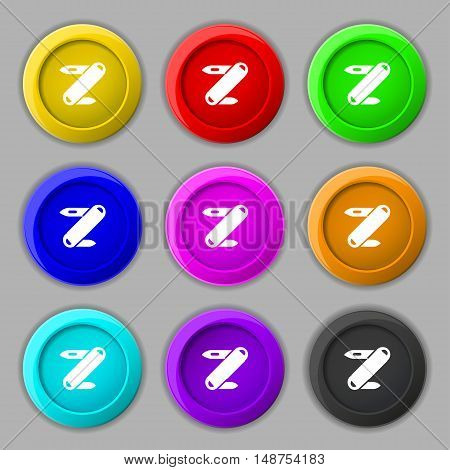 Pocket Knife Icon Sign. Symbol On Nine Round Colourful Buttons. Vector