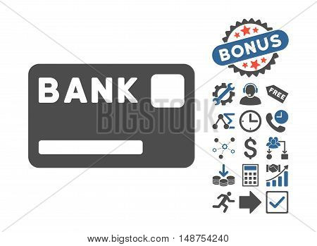 Bank Card icon with bonus pictogram. Glyph illustration style is flat iconic bicolor symbols, cobalt and gray colors, white background.