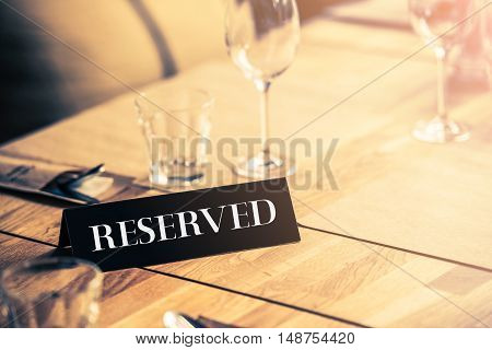 Reserved Restaurant Table. Table Reservation Table Closeup.