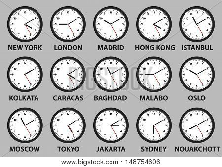 Some clocks faces showing time differences in diverse world cities. vector illustration