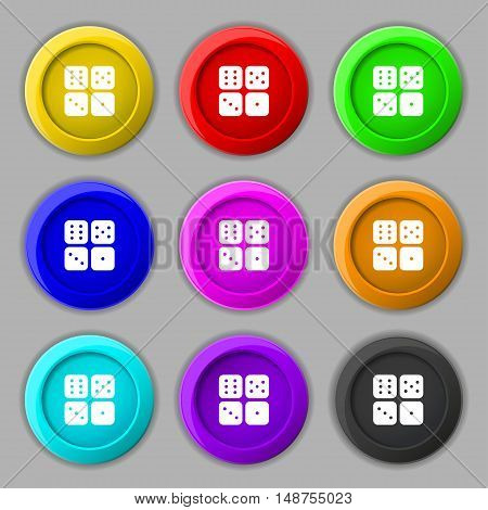 Dices Icon Sign. Symbol On Nine Round Colourful Buttons. Vector