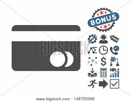 Banking Card icon with bonus pictograph collection. Glyph illustration style is flat iconic bicolor symbols, cobalt and gray colors, white background.