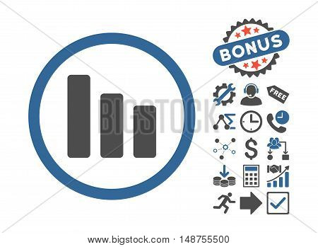 Bar Chart Decrease pictograph with bonus symbols. Glyph illustration style is flat iconic bicolor symbols, cobalt and gray colors, white background.