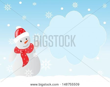 Winter background with snowflakes and a snowman and an area for text
