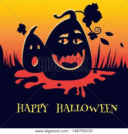 Vector illustration of Halloween pumpkin background. Halloween poster or card