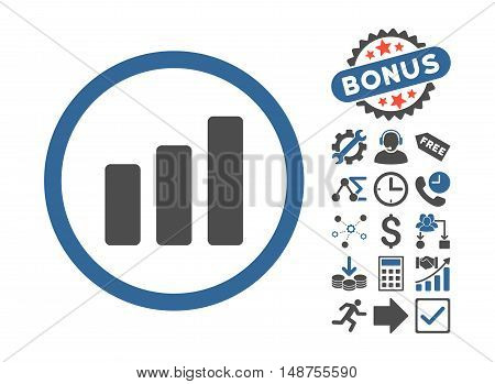 Bar Chart Increase icon with bonus pictures. Glyph illustration style is flat iconic bicolor symbols, cobalt and gray colors, white background.