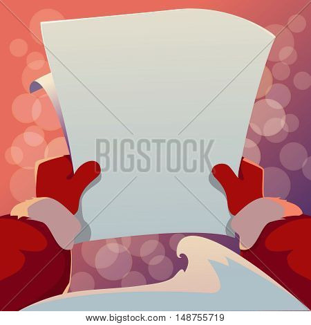 Christmas Greeting Card. Santa Claus is holding in his hands a letter. Vector cartoon illustration