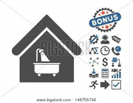 Bathroom pictograph with bonus design elements. Glyph illustration style is flat iconic bicolor symbols, cobalt and gray colors, white background.