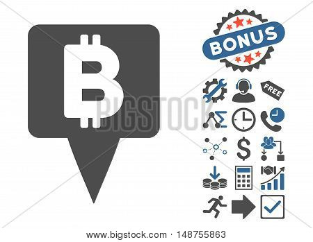 Bitcoin Map Pointer pictograph with bonus icon set. Glyph illustration style is flat iconic bicolor symbols, cobalt and gray colors, white background.