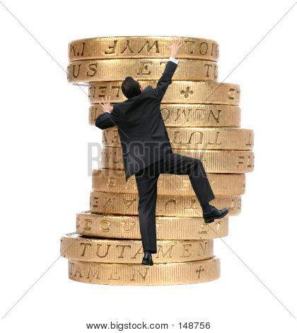 Business Growth - Man Climbing Coins
