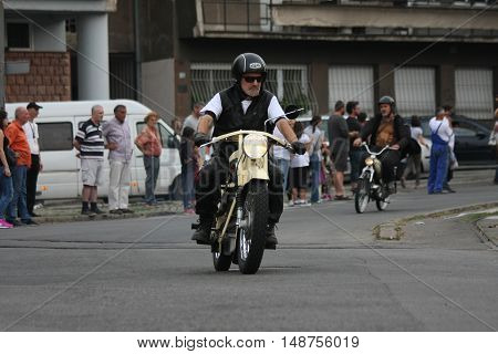BELGRADE,SERBIA - SEPTEMBER 10, 2016: Oldtimer motorcycle at the commercial race of old cars in memory of formula 1 race held on the same place in 1939 two days after the beginning of Second World War when the famous Italian driver Tazio Nuvolari won