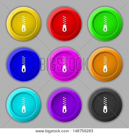 Zipper Icon Sign. Symbol On Nine Round Colourful Buttons. Vector