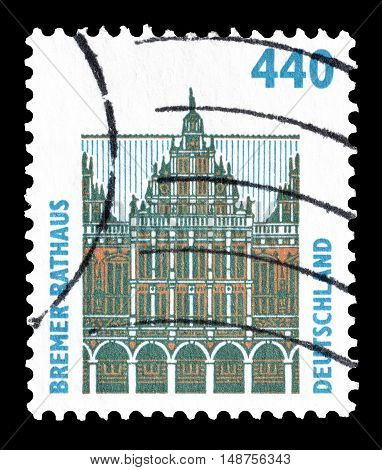 GERMANY - CIRCA 1997 : Cancelled postage stamp printed by Germany, that shows Town hall in Bremen.