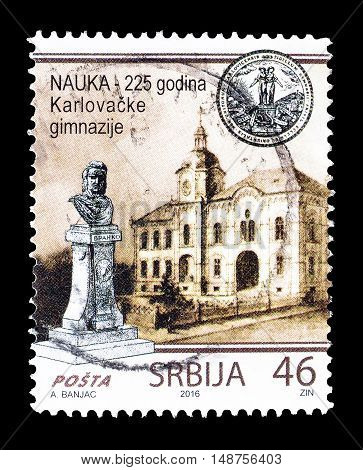 SERBIA - CIRCA 2016 : Cancelled postage stamp printed by Serbia, that shows Gymnasium in Sremski Karlovci.
