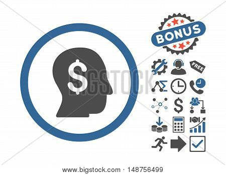 Businessman pictograph with bonus pictogram. Glyph illustration style is flat iconic bicolor symbols, cobalt and gray colors, white background.