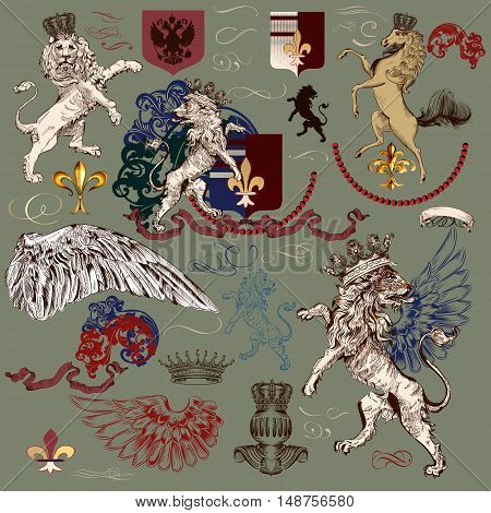 Heraldic antique collection of vector elements for luxury authentic design. Lions horse fleur de lis ornaments and shields