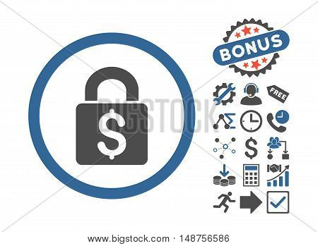 Pay Lock icon with bonus pictogram. Glyph illustration style is flat iconic bicolor symbols, cobalt and gray colors, white background.