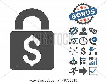 Pay Lock icon with bonus elements. Glyph illustration style is flat iconic bicolor symbols, cobalt and gray colors, white background.