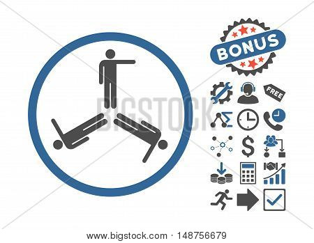 Pointing Men icon with bonus elements. Glyph illustration style is flat iconic bicolor symbols, cobalt and gray colors, white background.