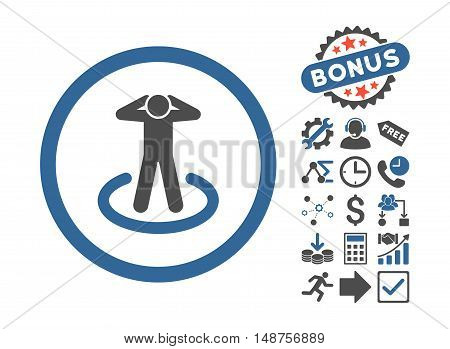 Prisoner pictograph with bonus clip art. Glyph illustration style is flat iconic bicolor symbols, cobalt and gray colors, white background.