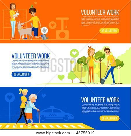 Gardening and active social work and care for the elderly and animals long cards vector illustration
