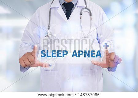 SLEEP APNEA Medicine doctor hand working doctor work hard