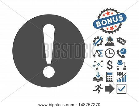 Problem pictograph with bonus elements. Glyph illustration style is flat iconic bicolor symbols, cobalt and gray colors, white background.