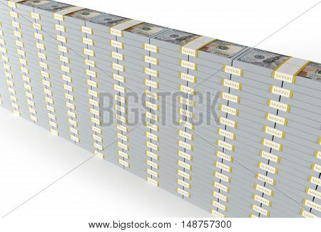 American Dollars Banknotes Wall Isolated on White. 3D Render Illustration.