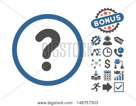 Question icon with bonus pictures. Glyph illustration style is flat iconic bicolor symbols, cobalt and gray colors, white background.