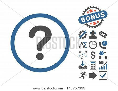 Question pictograph with bonus symbols. Glyph illustration style is flat iconic bicolor symbols, cobalt and gray colors, white background.