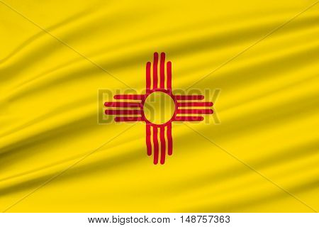 Flag of New Mexico is a state of United States. 3D illustration