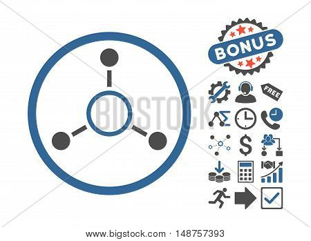 Radial Structure icon with bonus pictograph collection. Glyph illustration style is flat iconic bicolor symbols, cobalt and gray colors, white background.
