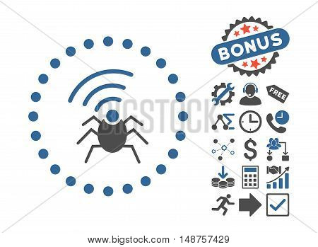 Radio Spy Bug icon with bonus pictograph collection. Glyph illustration style is flat iconic bicolor symbols, cobalt and gray colors, white background.