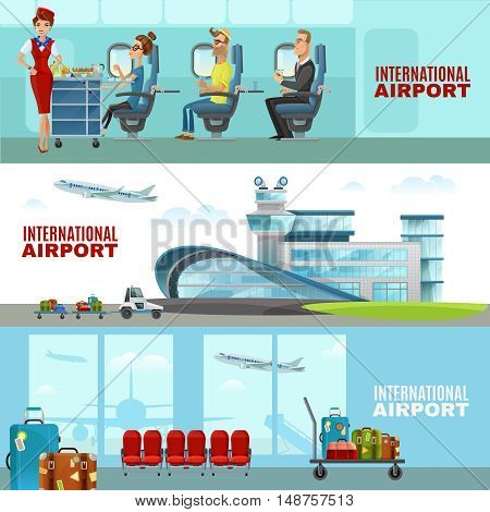 International airport horizontal banners  with waiting room interior and stewardesses and passengers in aircraft cabin flat vector illustration