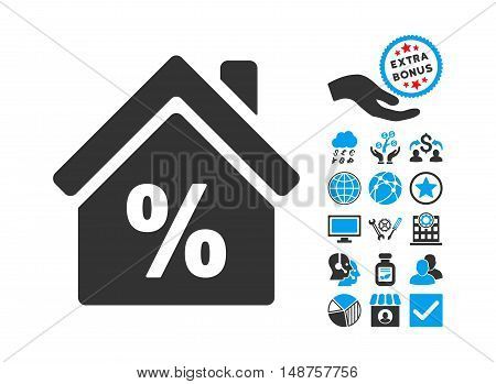 Mortgage Discount pictograph with bonus elements. Glyph illustration style is flat iconic bicolor symbols, blue and gray colors, white background.