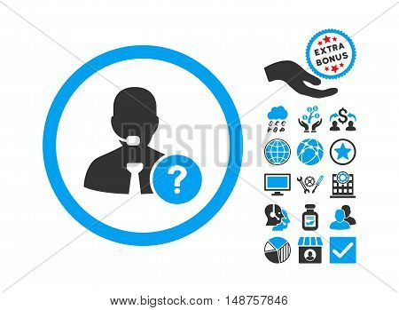Online Support icon with bonus images. Glyph illustration style is flat iconic bicolor symbols, blue and gray colors, white background.