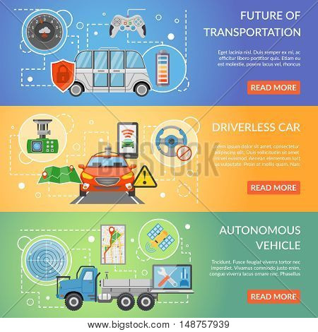 Horizontal colorful future of transportation driverless car autonomous vehicle isolated flat banners vector illustration
