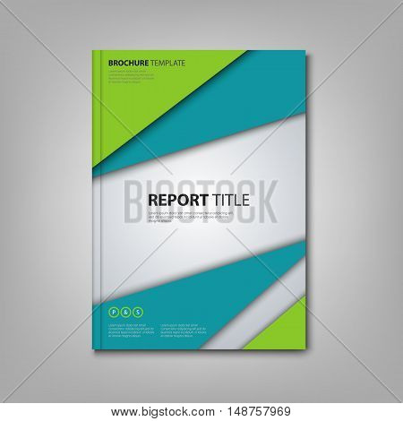 Brochures book or flyer with abstract blue green triangles template vector eps 10