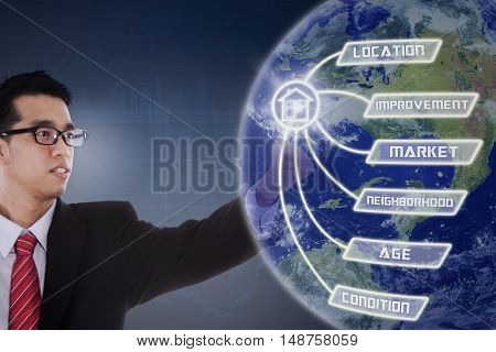 Property value concept with a male real estate agent touches property value button and globe on the virtual screen